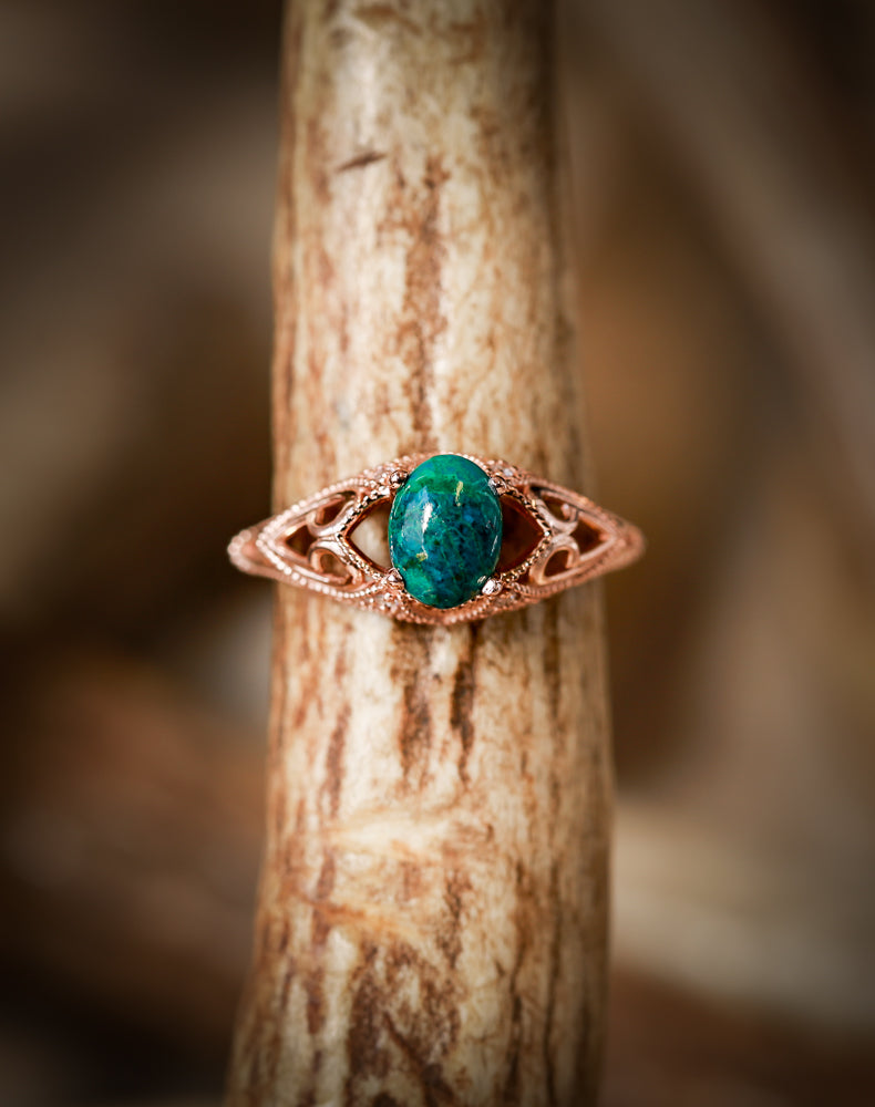 VINTAGE STYLE 14K GOLD ENGAGEMENT WITH A TURQUOISE STONE AND DIAMOND ACCENTS (available in 14K white, yellow & rose gold) -  Custom Rings Handcrafted By Staghead Designs