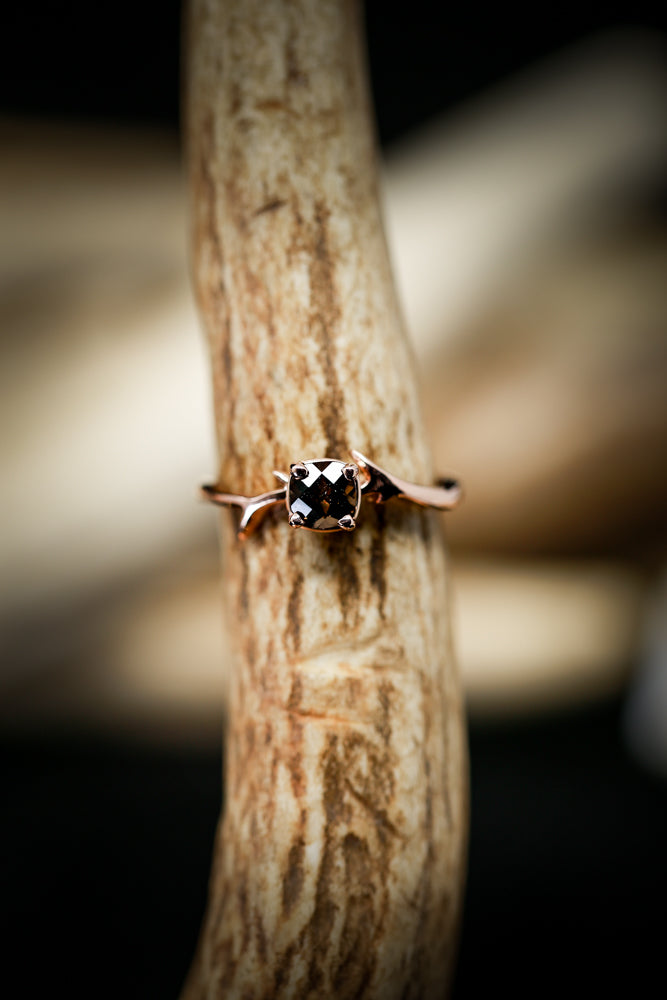 ARTEMIS STACKER WITH SMOKEY QUARTZ STONE ON 14K GOLD BAND (available in 14K white, yellow & rose gold) - Staghead Designs - Antler Rings By Staghead Designs