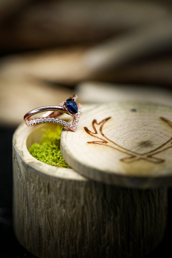 WOMEN'S ENGAGEMENT RING WITH A BLUE SAPPHIRE AND DIAMONDS (available in 14K white, yellow & rose gold) -  Custom Rings Handcrafted By Staghead Designs