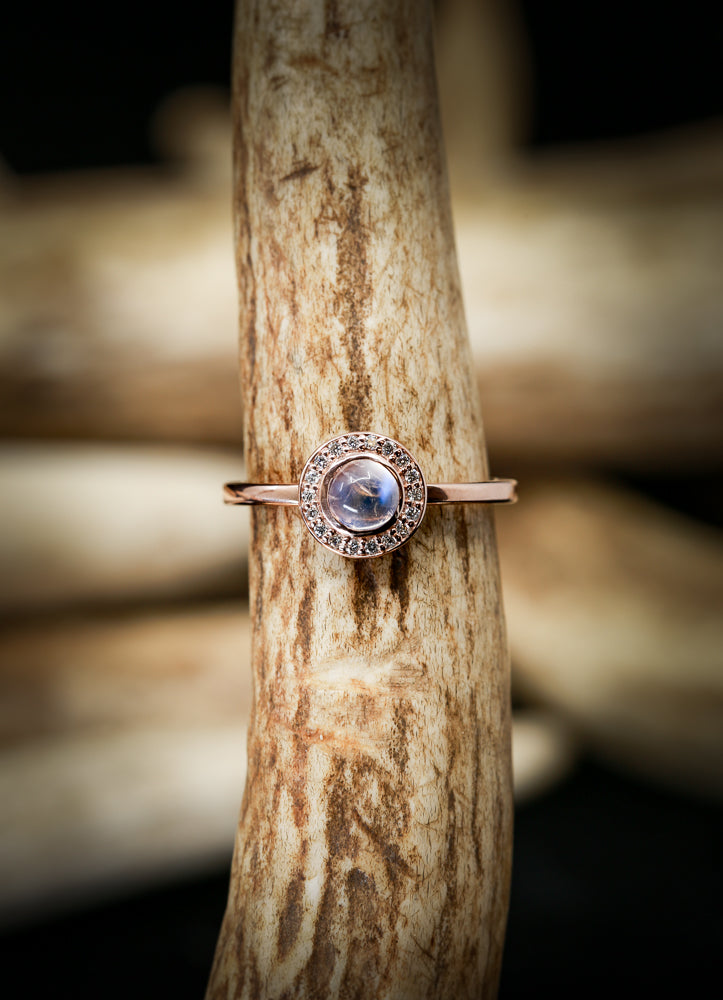 14K GOLD ENGAGEMENT RING WITH A MOONSTONE AND DIAMOND HALO (available in 14K white, yellow & rose gold) - Staghead Designs - Antler Rings By Staghead Designs