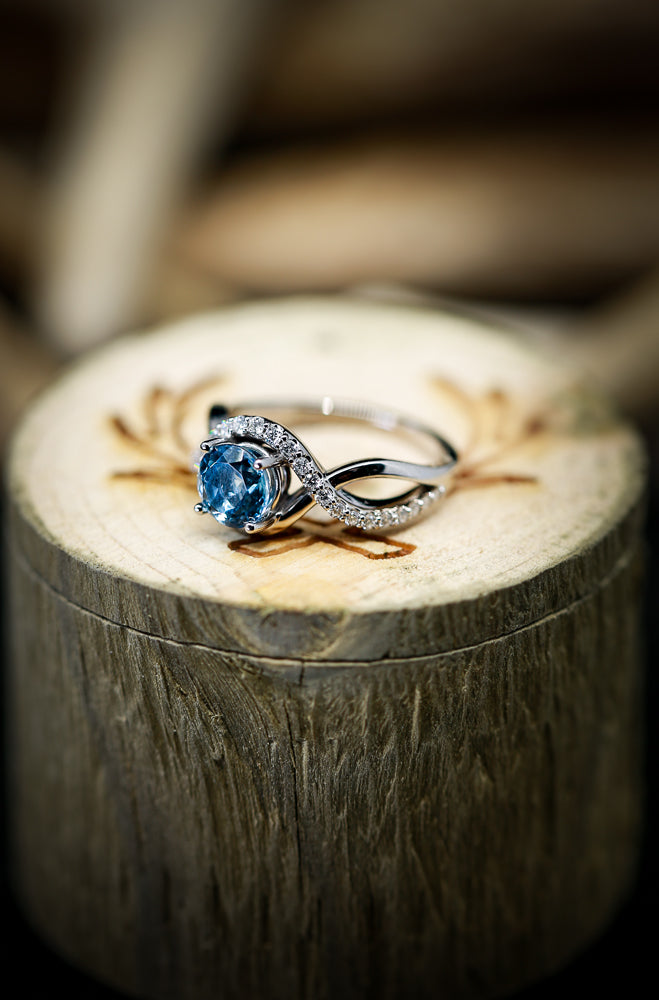 AQUAMARINE ENGAGEMENT RING WITH DIAMOND ACCENTS ON A 14K GOLD BAND (available in 14K white & rose gold) - Staghead Designs - Antler Rings By Staghead Designs