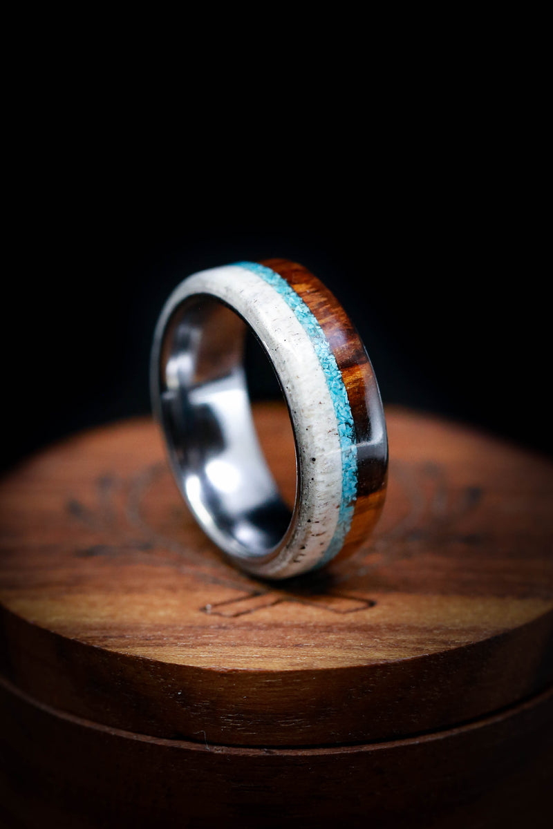 Tungsten Wedding Ring - Men's Turquoise Wedding Band - Staghead Designs