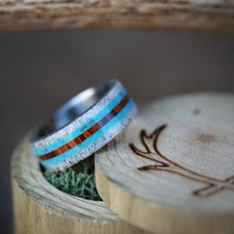 ANTLER & WOOD WEDDING BAND WITH TURQUOISE INLAYS (available in titanium, silver, black zirconium) - Staghead Designs - Antler Rings By Staghead Designs
