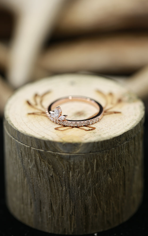 14K GOLD STACKABLE CROWN RING WITH 1/3ctw DIAMONDS (available in 14K yellow, white & rose gold) - Staghead Designs - Antler Rings By Staghead Designs