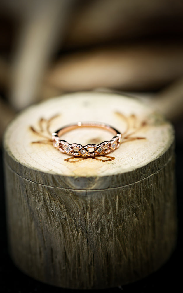 14K GOLD GEOMETRIC STACKING BAND WITH 1/6ctw DIAMOND (available in 14K yellow, rose or white gold) - Staghead Designs - Antler Rings By Staghead Designs