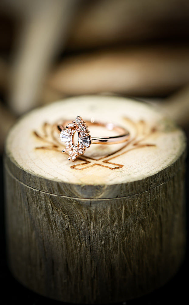 14K GOLD STARBURST ENGAGEMENT RING WITH MARQUISE CENTER STONE & BAGUETTE  DIAMOND SETTING (avail in most sizes & rose or white gold) - Staghead Designs - Antler Rings By Staghead Designs