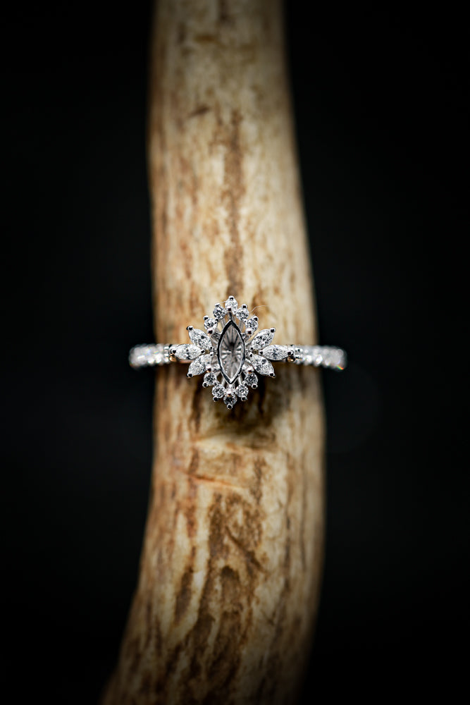 1/2ctw STARBURST ENGAGEMENT RING WITH MARQUISE CENTER STONE SETTING (avail in most sizes & 14K white gold) - Staghead Designs - Antler Rings By Staghead Designs