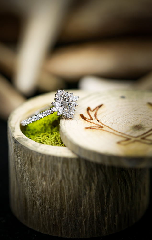 1/2ctw STARBURST ENGAGEMENT RING WITH MARQUISE CENTER STONE SETTING (avail in most sizes & 14K white gold) -  Custom Rings Handcrafted By Staghead Designs