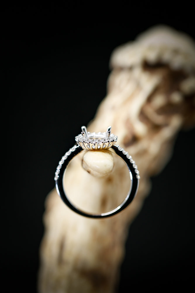 14K WHITE GOLD RING WITH HORIZONTAL OVAL SETTING AND 1/3ctw DIAMOND HALO (avail in most sizes) - Staghead Designs - Antler Rings By Staghead Designs