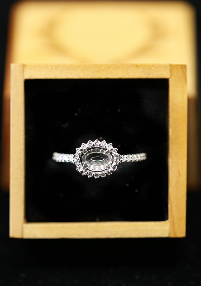 14K WHITE GOLD RING WITH HORIZONTAL OVAL SETTING AND 1/3ctw DIAMOND HALO (avail in most sizes) -  Custom Rings Handcrafted By Staghead Designs
