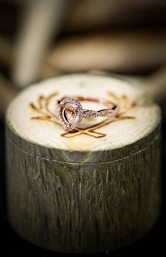 14K GOLD RING WITH 1/4ctw DIAMOND HALO AND PEAR SHAPED MOUNTING (avail in most sizes & 14K white or rose gold) - Staghead Designs - Antler Rings By Staghead Designs