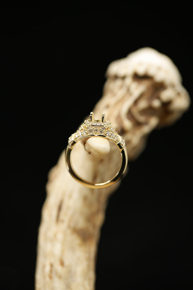 14K GOLD RING WITH 3/8ctw DIAMONDS (avail in most sizes & 14K white or yellow gold) - Staghead Designs - Antler Rings By Staghead Designs