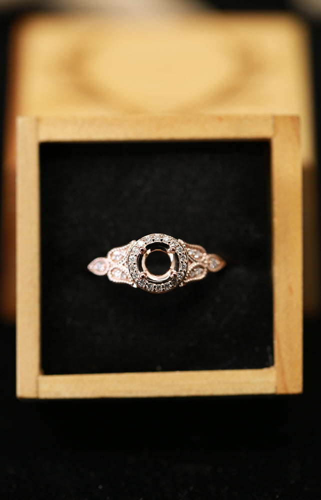 14K GOLD ART DECO FLORAL PETAL INSPIRED ENGAGEMENT RING WITH DIAMOND ACCENTS (avail in most sizes, and in rose gold & white gold) - Staghead Designs - Antler Rings By Staghead Designs