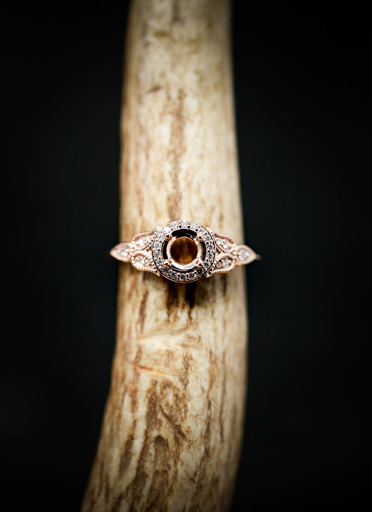 14K GOLD ART DECO FLORAL PETAL INSPIRED ENGAGEMENT RING WITH DIAMOND ACCENTS (avail in most sizes, and in rose gold & white gold) -  Custom Rings Handcrafted By Staghead Designs