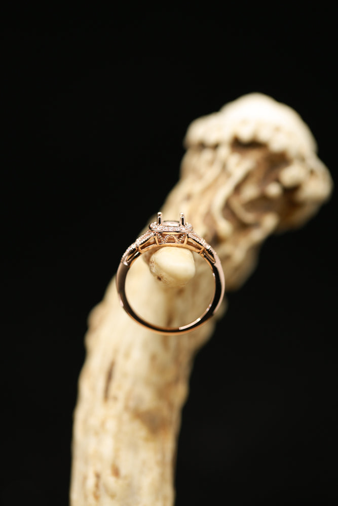 PRINCESS CUT ENGAGEMENT RING WITH DIAMOND ACCENTS & 14K GOLD (avail in most sizes & rose gold) ) - Staghead Designs - Antler Rings By Staghead Designs