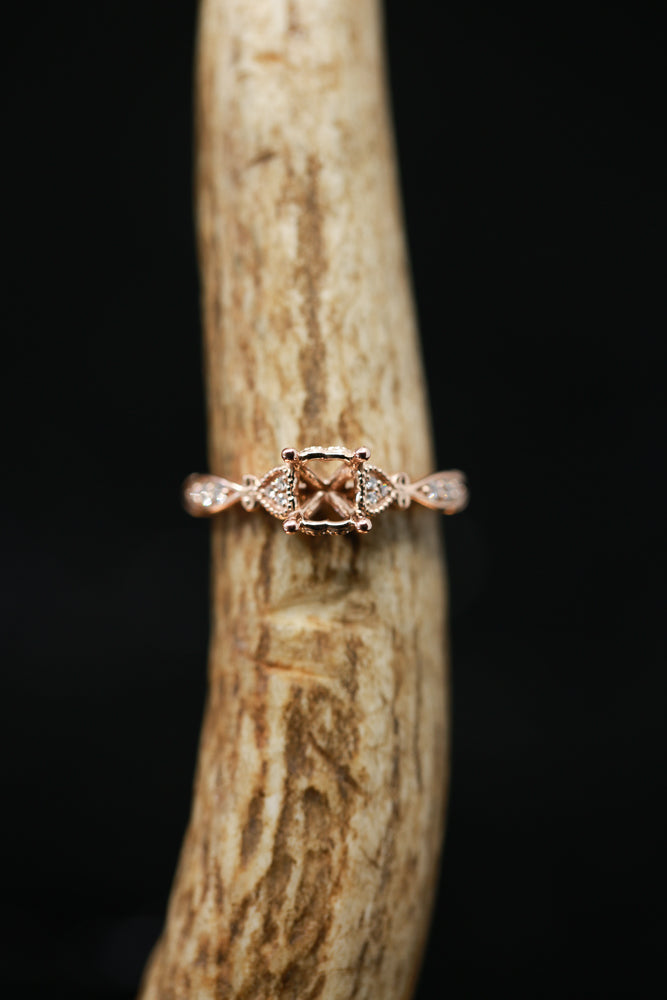 PRINCESS CUT ENGAGEMENT RING WITH DIAMOND ACCENTS & 14K GOLD (avail in most sizes & rose gold) ) -  Custom Rings Handcrafted By Staghead Designs