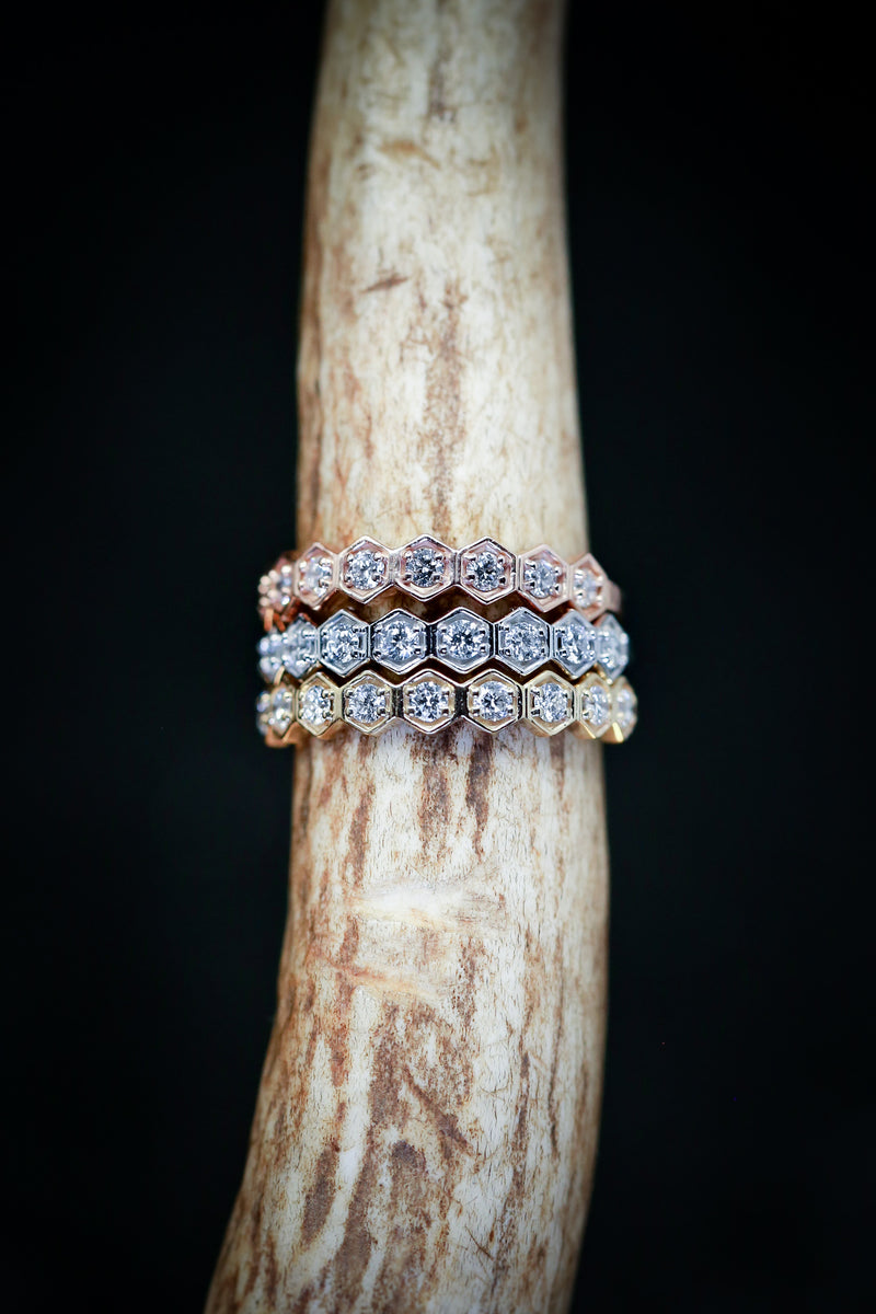 14K GOLD HEXAGON DIAMOND STACKING BAND (available in 14K rose, white or yellow gold) - Staghead Designs - Antler Rings By Staghead Designs