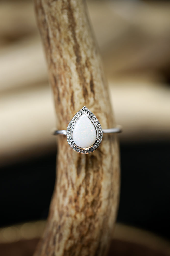 """TERRA"" IN PEAR SHAPED OPAL WITH DIAMOND HALO ON 14K GOLD (available in 14K white, rose, or yellow gold) -  Custom Rings Handcrafted By Staghead Designs"