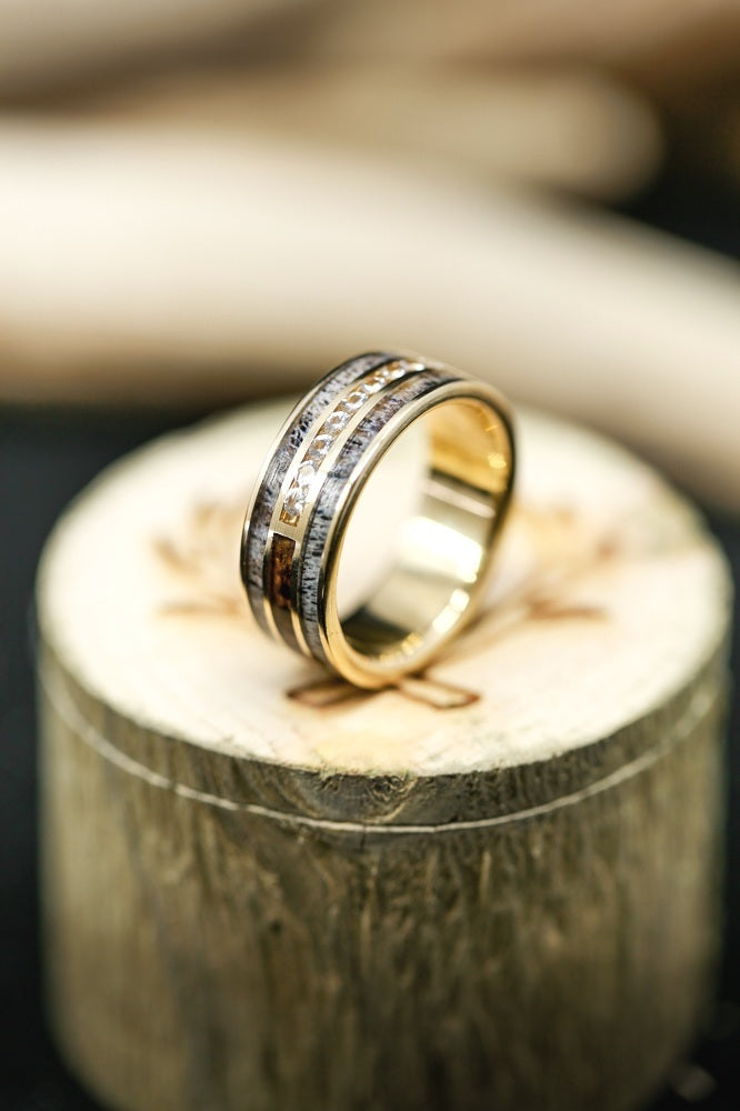 MEN'S 14K GOLD RING WITH DIAMONDS, ANTLER, AND WOOD (available in 14K white, rose or yellow gold) -  Custom Rings Handcrafted By Staghead Designs