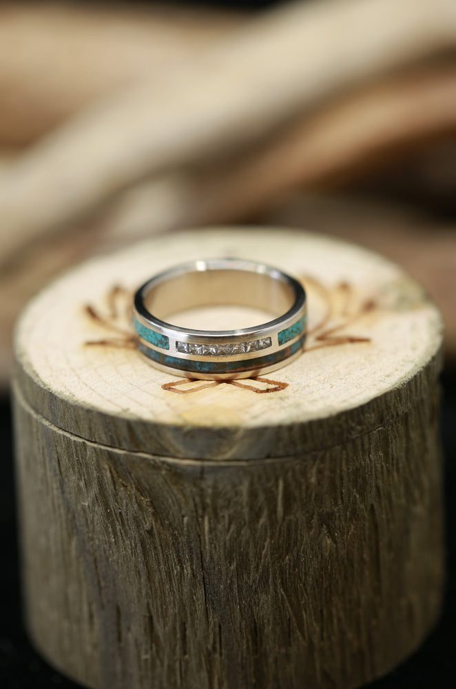 DIAMOND BAND WITH PATINA COPPER AND TURQUOISE INLAYS(available in 14K white, rose, or yellow gold) - Staghead Designs - Antler Rings By Staghead Designs