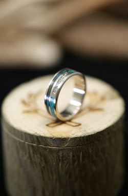 DIAMOND BAND WITH PATINA COPPER AND TURQUOISE INLAYS(available in 14K white, rose, or yellow gold) -  Custom Rings Handcrafted By Staghead Designs