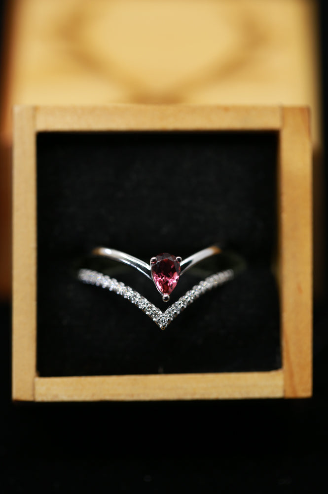 WOMEN'S ENGAGEMENT RING WITH PINK TOURMALINE AND DIAMONDS (available in 14K white, yellow & rose gold) - Staghead Designs - Antler Rings By Staghead Designs
