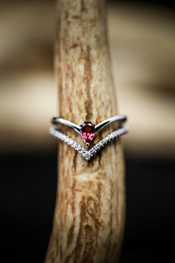 WOMEN'S ENGAGEMENT RING WITH PINK TOURMALINE AND DIAMONDS (available in 14K white, yellow & rose gold) -  Custom Rings Handcrafted By Staghead Designs