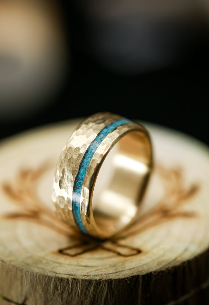"""VERTIGO"" IN 14K GOLD WITH TURQUOISE AND HAMMERED FINISH (available in 14K white, rose, or yellow gold) - Staghead Designs - Antler Rings By Staghead Designs"
