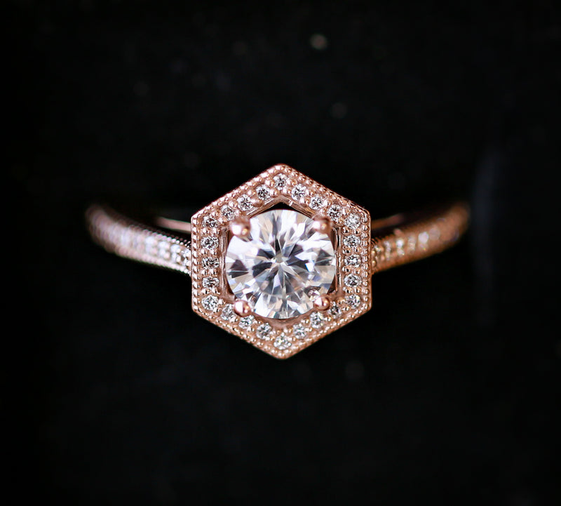 GEOMETRIC 1ct MOISSANITE WITH DIAMOND ACCENTS (avail. in 14k Rose, yellow and white gold) -  Custom Rings Handcrafted By Staghead Designs