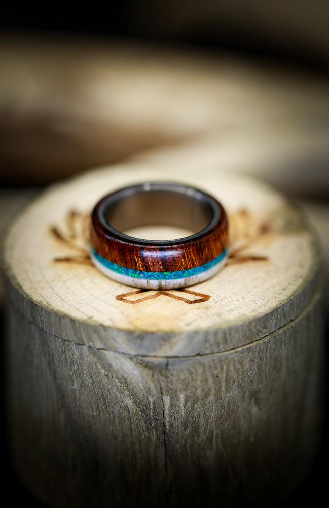 """BANNER"" WEDDING RING IN BLUE OPAL, WOOD & ANTLER (available in titanium, silver, black zirconium & 14K white, rose, or yellow gold) - Staghead Designs - Antler Rings By Staghead Designs"