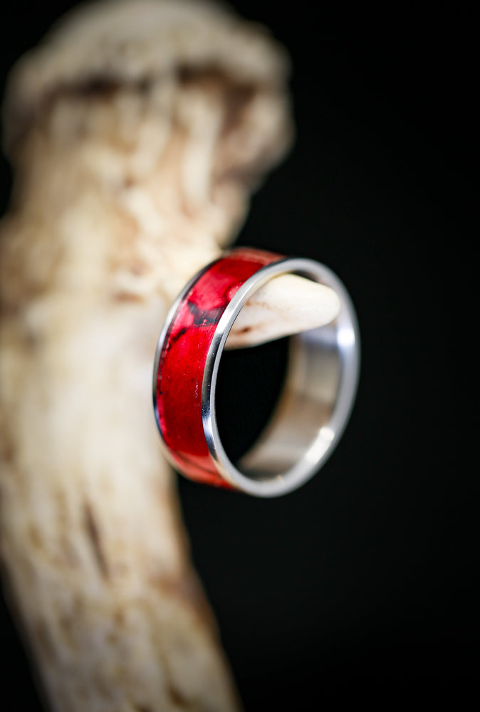 """RAINIER"" WEDDING RING WITH RED PATINA COPPER ON TITANIUM BASE (available in titanium, silver, black zirconium, damascus steel & 14K white, rose, or yellow gold) - Staghead Designs - Antler Rings By Staghead Designs"