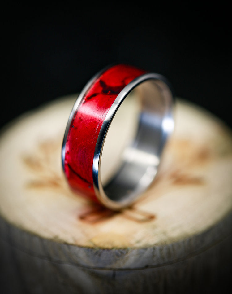 """RAINIER"" WEDDING RING WITH RED PATINA COPPER ON TITANIUM BASE (available in titanium, silver, black zirconium, damascus steel & 14K white, rose, or yellow gold) -  Custom Rings Handcrafted By Staghead Designs"