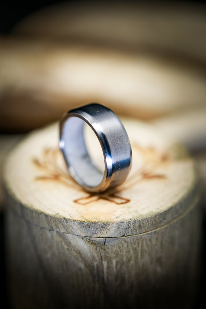 TITANIUM WEDDING BAND WITH INTERIOR CRUSHED ANTLER LINING (available in titanium, silver, black zirconium, damascus steel & 14K white, rose or yellow gold) - Staghead Designs - Antler Rings By Staghead Designs