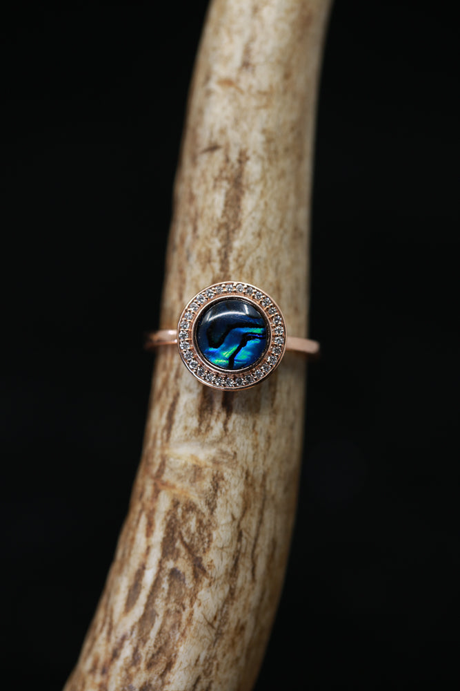 """TERRA"" 14K GOLD WITH PAUA SHELL & DIAMOND HALO (available in 14K rose, white or yellow gold) - Staghead Designs - Antler Rings By Staghead Designs"