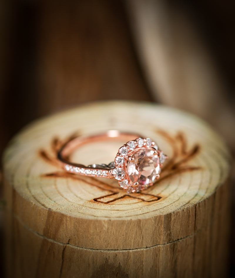 """OPHELIA"" IN MORGANITE & TWO-TONE 14K GOLD ENGAGEMENT RING (available in 14K white, yellow & rose gold) -  Custom Rings Handcrafted By Staghead Designs"