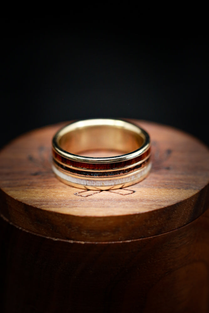 """RIO"" - ELK ANTLER, PATINA COPPER AND WOOD RING (fully customizable)"