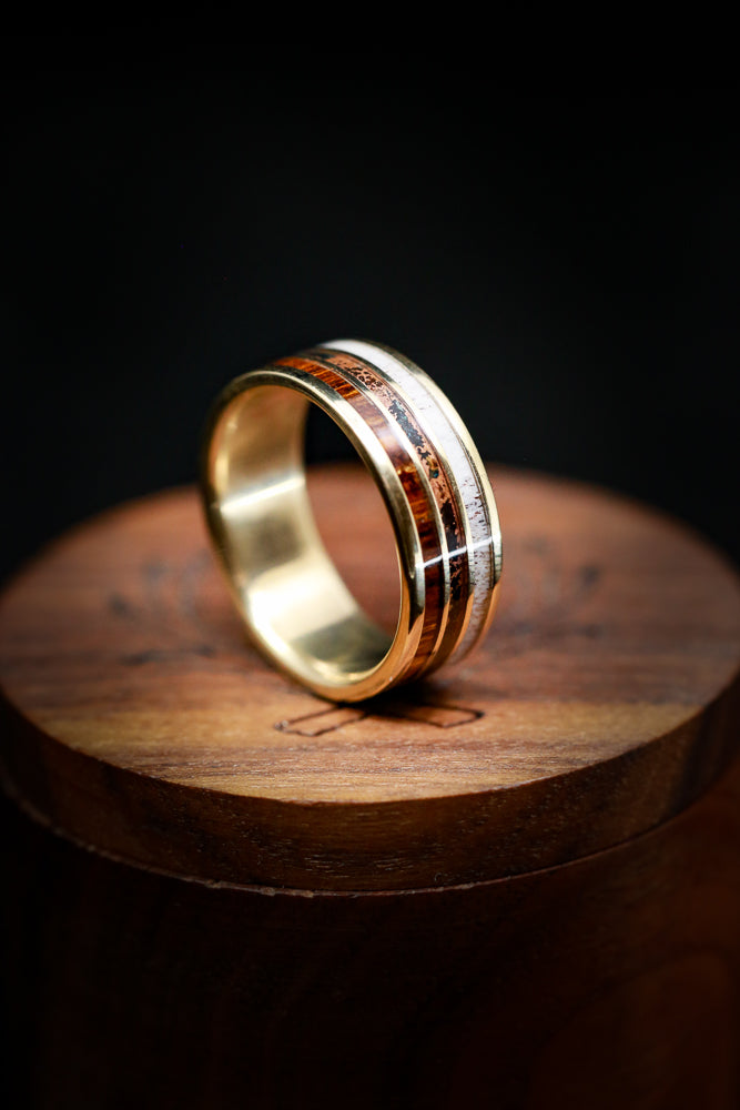 """RIO"" - THREE CHANNEL 14K GOLD RING WITH IRONWOOD, PATINA COPPER, AND ANTLER INLAYS (fully customizable)"