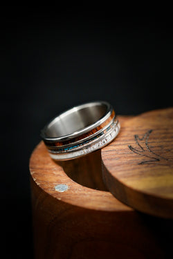 Copper Patina Wedding Band with Ironwood and Antler - Staghead Designs