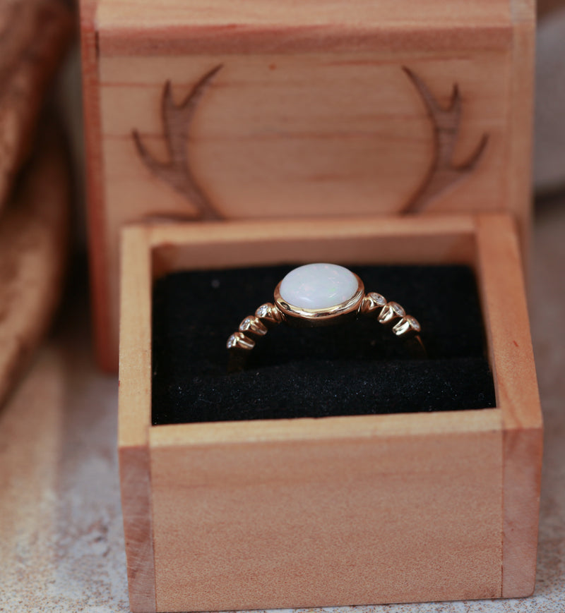 OPAL & 14K GOLD RING WITH 3 DIAMOND ACCENTS ON EITHER SIDE (available in 14K rose, white & yellow gold) - Staghead Designs - Antler Rings By Staghead Designs
