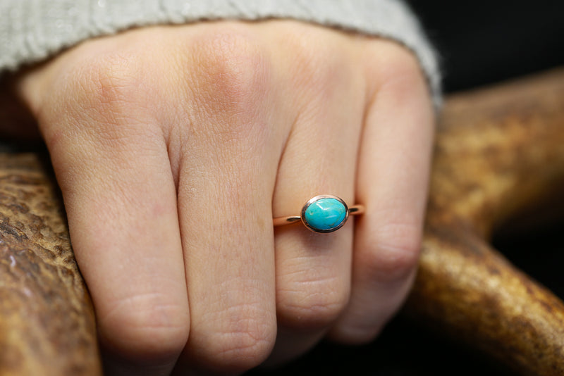 14K ROSE GOLD ENGAGEMENT RING WITH OVAL BLUE BIRD TURQUOISE (available in 14K white, yellow, or rose gold) -  Custom Rings Handcrafted By Staghead Designs