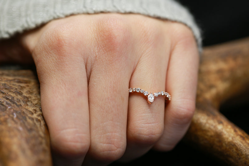 V-SHAPED STACKER WITH MARQUISE DIAMOND AND ACCENTS (available in 14K white, yellow, and rose gold) - Staghead Designs - Antler Rings By Staghead Designs