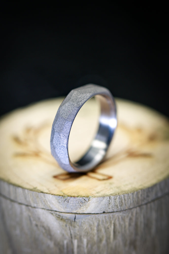 FACETED TITANIUM RING WITH SANDBLASTED FINISH (available in titanium) - Staghead Designs - Antler Rings By Staghead Designs