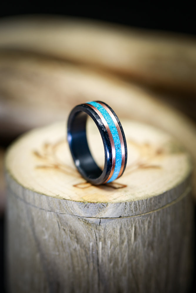 HAMMERED BLACK ZIRCONIUM WEDDING BAND WITH TURQUOISE & 14K GOLD INLAYS (available in black zirconium, silver, damascus steel & 14K white, yellow, or rose gold) - Staghead Designs - Antler Rings By Staghead Designs