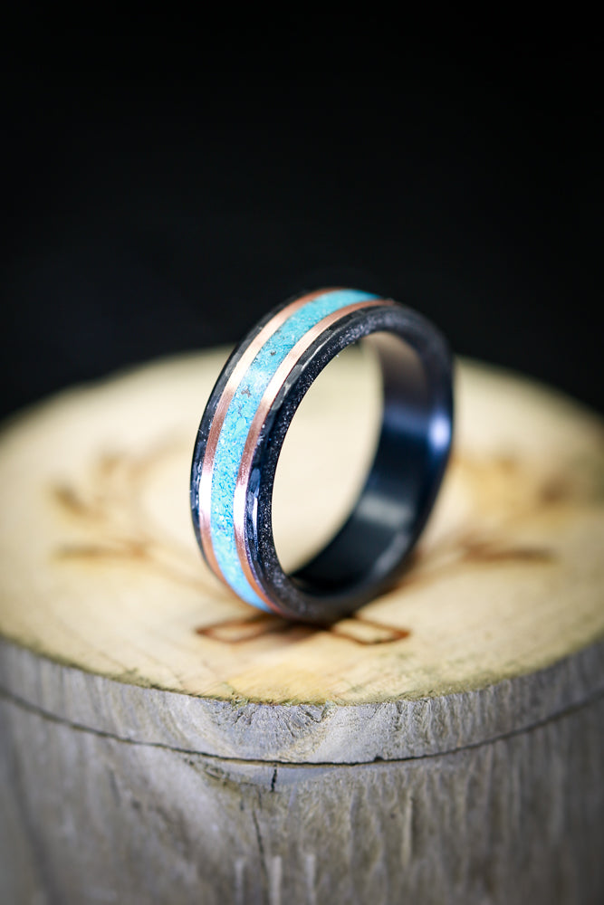 HAMMERED BLACK ZIRCONIUM WEDDING BAND WITH TURQUOISE & 14K GOLD INLAYS (available in black zirconium, silver, damascus steel & 14K white, yellow, or rose gold) -  Custom Rings Handcrafted By Staghead Designs