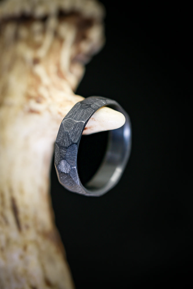FACETED BLACK ZIRCONIUM RING WITH A RAW FINISH - Staghead Designs - Antler Rings By Staghead Designs