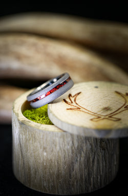 """VERTIGO"" WITH SANDBLASTED FINISH AND OFFSET RED PATINA COPPER INLAY (available in titanium, silver, black zirconium, damascus steel & 14K white, rose, or yellow gold) -  Custom Rings Handcrafted By Staghead Designs"