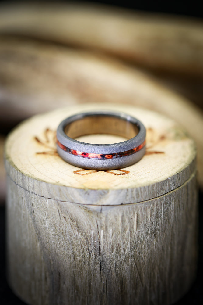"""VERTIGO"" WITH SANDBLASTED FINISH AND OFFSET RED PATINA COPPER INLAY (available in titanium, silver, black zirconium, damascus steel & 14K white, rose, or yellow gold) - Staghead Designs - Antler Rings By Staghead Designs"