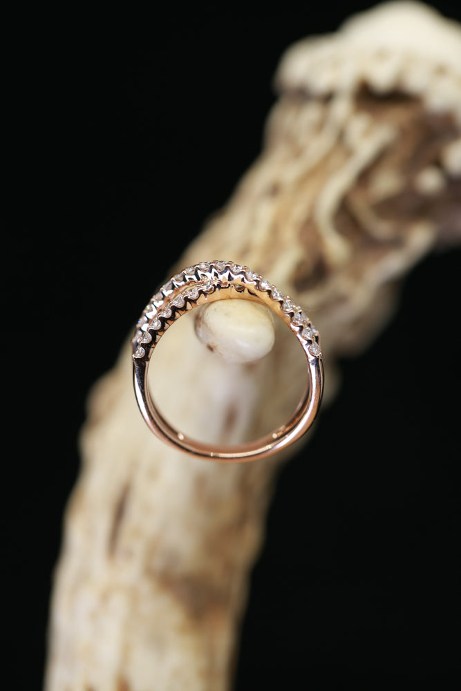 CRISS-CROSS DIAMOND BAND WITH 1/2ctw DIAMONDS (available in 14K rose, white, or yellow gold) - Staghead Designs - Antler Rings By Staghead Designs