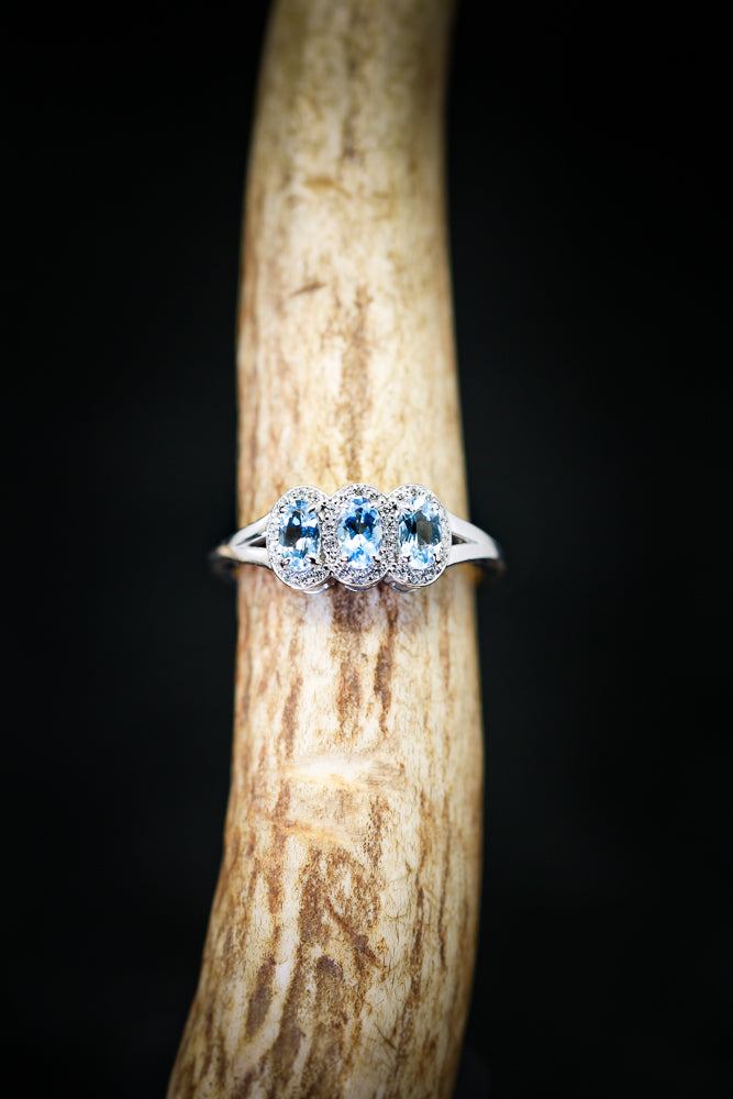 14K GOLD ENGAGEMENT RING FEATURING THREE AQUAMARINE STONES AND DIAMOND HALOS (available in 14K rose, white, or yellow gold) -  Custom Rings Handcrafted By Staghead Designs