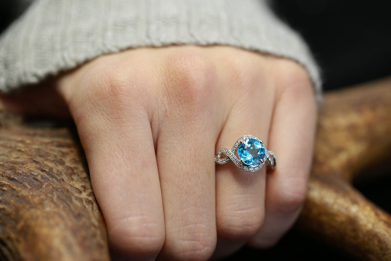 SWISS BLUE TOPAZ ENGAGEMENT RING WITH DIAMOND ACCENTS ON 14K GOLD (available in 14K rose, white, or yellow gold) - Staghead Designs - Antler Rings By Staghead Designs